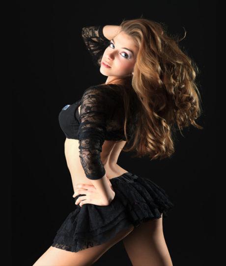 A sexy stripper in a mini skirt