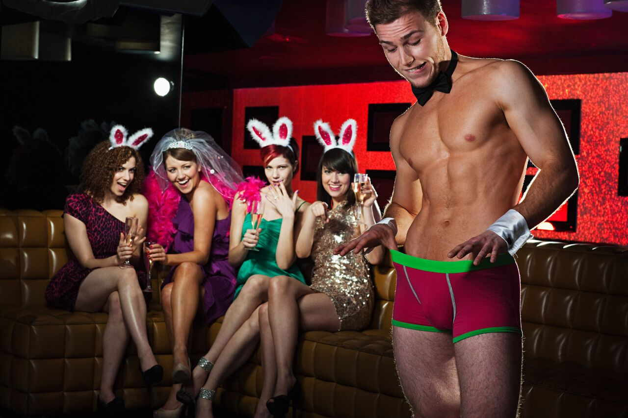 A bachelorette party who hired a male stripper to party and dance.